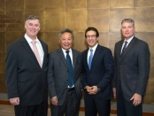 Boeing [NYSE: BA] and CDB Aviation Lease Finance (CDB Aviation) announced an order today for 30 737 MAX 8 airplanes. Seen here (from left to right) are Kevin McAllister, President and Chief Executive Officer, Commercial Airplanes, Peter Chang, President & CEO, CDB Aviation Lease Finance, Ihssane Mounir, Vice President, Global Sales & Marketing, Commercial Airplanes, and Rick Anderson, Vice President of Northeast Asia Sales.