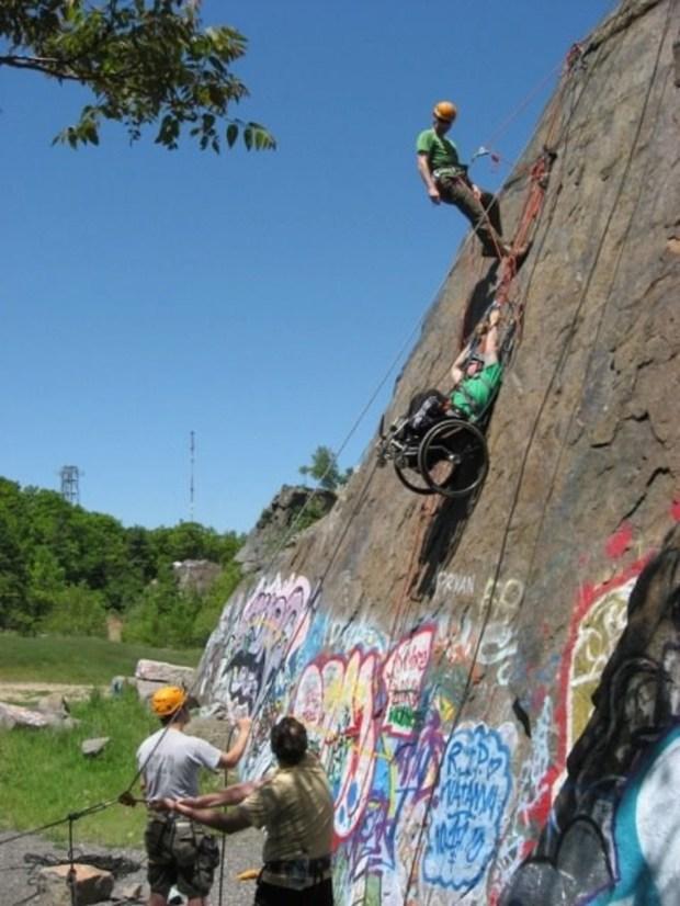 Veterans rock climbing