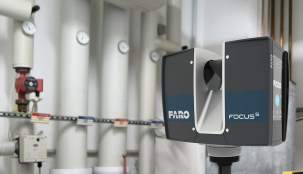 The FARO Focus S 70 Laser Scanner is positioned to scan a mechanical room. (PRNewsfoto/FARO Technologies, Inc.)