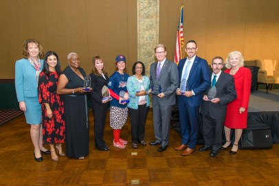"(l to r) Suzanne Higgins, Ashley Boxer, Rozen Patterson, Judy Frum, Linda Herbert a.k.a. ""Lotsy Dotsy"", Dr. Baghirat Sahasranaman, Dan Lindblade, DDF Vice President Michael Ehren, Lawrence McDermott, and DDF Board Member Cynthia Peterson at the Greater Fort Lauderdale Chamber of Commerce Excellence in Healthcare Awards Luncheon (PRNewsfoto/Debbie's Dream Foundation: Curi)"