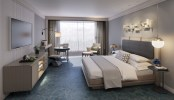 Rendering of room at JW Marriott Tampa, courtesy of Champalimaud Design (PRNewsfoto/Strategic Property Partners)