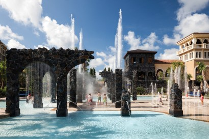 The resort's 5-acre water park includes an interactive Splash Zone, pictured, plus two water slides, a family pool and a separate adult-only pool. (PRNewsfoto/Four Seasons Resort Orlando)