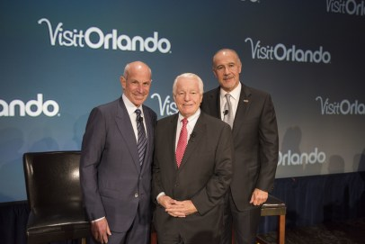 Left to right: Jonathan Tisch, Chairman and CEO of Loews Hotels & Resorts; Roger Dow, President and CEO of the U.S. Travel Association; and George Aguel, President and CEO, Visit Orlando (PRNewsfoto/Visit Orlando)