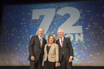 Left to right: George Aguel, President and CEO, Visit Orlando; Orange County Major Teresa Jacobs; Don Enger; Chairman of the Board of Visit Orlando and Executive Vice President, Tishman Hotel Corporation (PRNewsfoto/Visit Orlando)