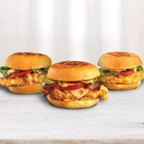 The Pollo Tropical® Classic Crispy Chicken, the Pollo Tropical® Crispy Chicken BLT Sandwich and the Pollo Tropical® Crispy Chipotle Chicken Sandwich are among the entirely new, tropically-inspired crispy sandwiches the brand is introducing (PRNewsfoto/Pollo Tropical)