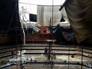 Hurricane Irma damage before the theater reopens on July 4, 2018 completely renovated (PRNewsfoto/Pirates Dinner Adventure - Orla)