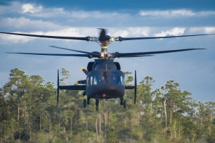 The Sikorsky-Boeing SB>1 DEFIANT™ helicopter achieved first flight March 21, 2019. This flight marks a key milestone for the Sikorsky-Boeing team, and is the culmination of significant design, simulation and test activity to further demonstrate the capability of the X2 Technology. Photo courtesy Sikorsky and Boeing.