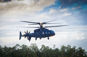 The Sikorsky-Boeing SB>1 DEFIANT™ helicopter achieved first flight March 21, 2019. With its two coaxial main rotors and rear-mounted pusher propulsor, DEFIANT is unlike production rotorcraft available today. Photo courtesy Sikorsky and Boeing.