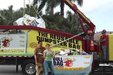 Reusable dumpster bag that holds 2.5 tons! Ready when you are! Never damage like metal dumpsters!