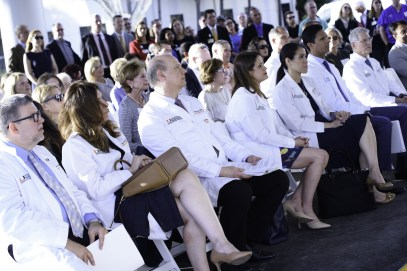Doctors, staff and supporters seated in the audience during a press conference announcing the new affiliation agreement between Jupiter Medical Center and the Sylvester Comprehensive Cancer Center, part of the University of Miami Health System.